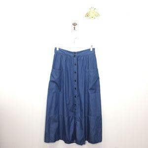 NWT Who What Wear denim midi pocket skirt 6 0128